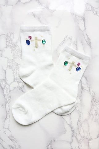 Gem Embellished Cross Socks - White