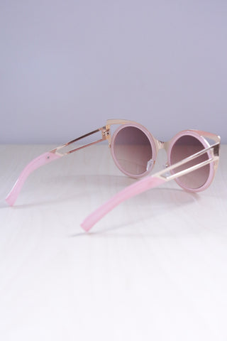 Cut-Out Metal Cat Eye Sunglasses - Pink