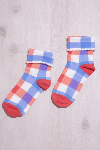 Checked Socks - Red