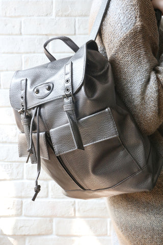 Double Buckle BackPack - Silver