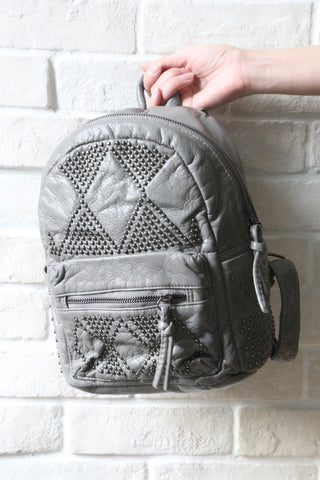 Studded Mini Backpack - Grey
