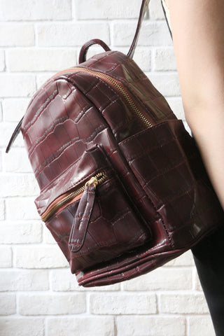 Mock-Croc Mini Backpack - Burgundy