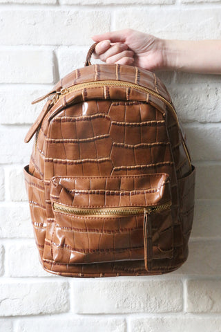 Mock-Croc Mini Backpack - Brown