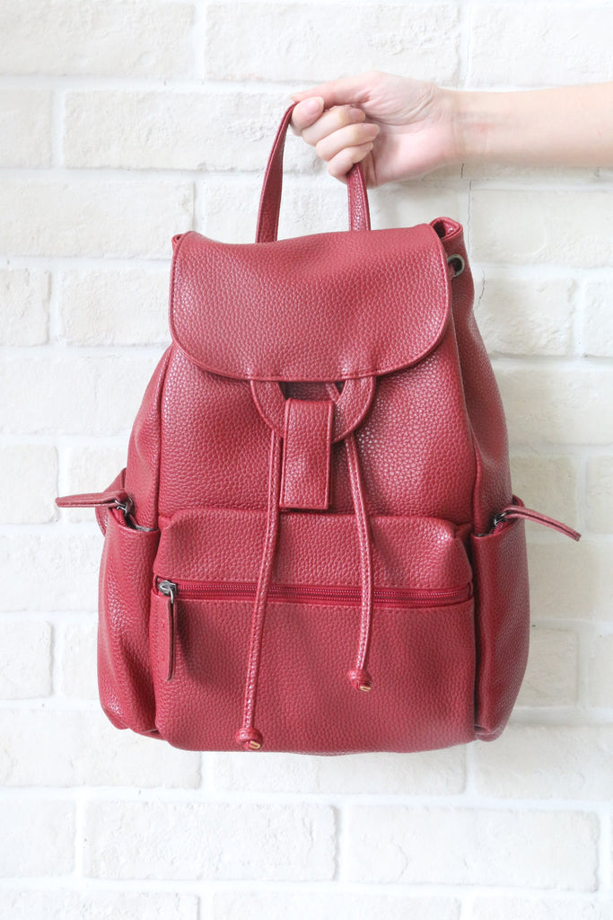 SH Textured Leather Backpack - Red