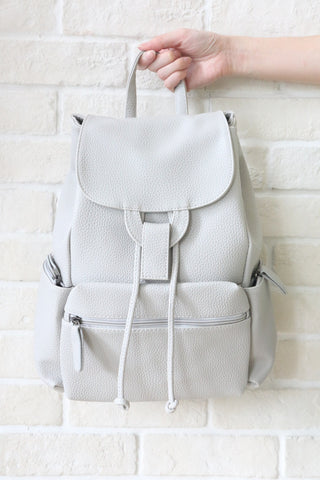 SH Textured Leather Backpack - Grey