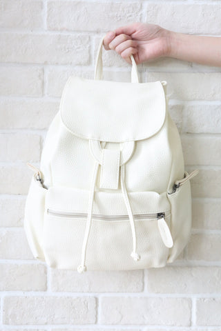SH Textured Leather Backpack - Beige
