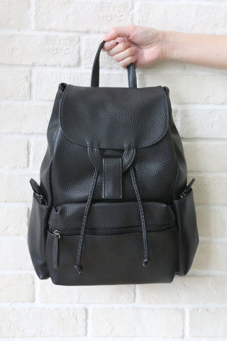 SH Textured Leather Backpack - Black