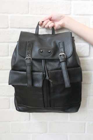Double Buckle BackPack - Black