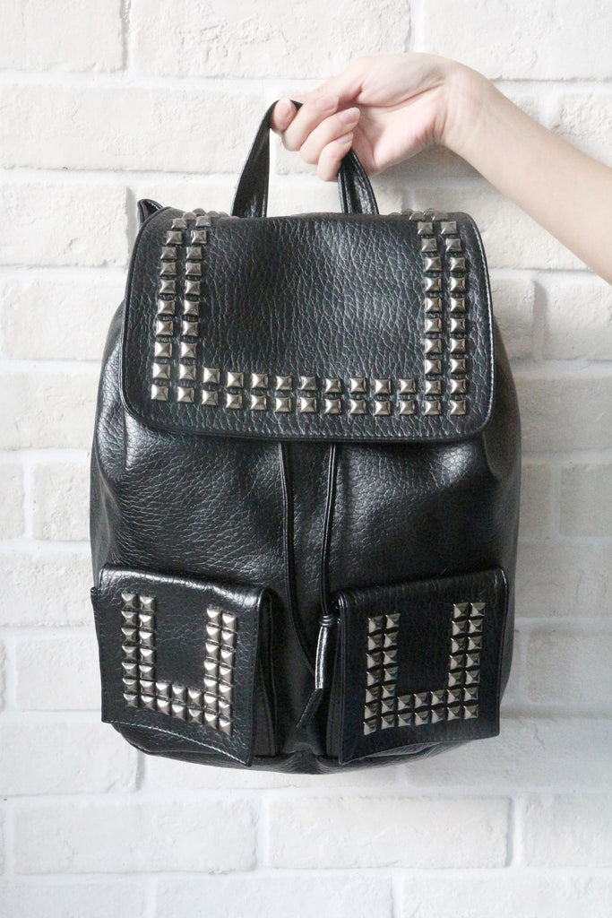 Shalex Studded Leather-Look Backpack - Black