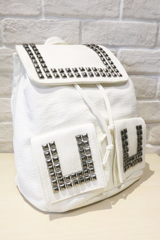 Shalex Studded Leather-Look Backpack - White