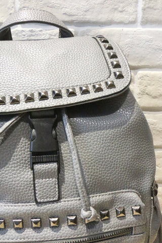 Studded Textured Leather Backpack - Grey