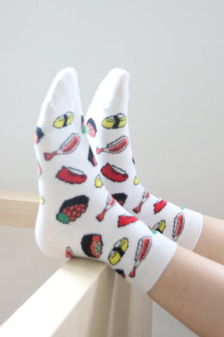I'm Hungry Sushi Socks - White