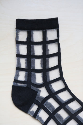 Sheer Grid Socks - Black