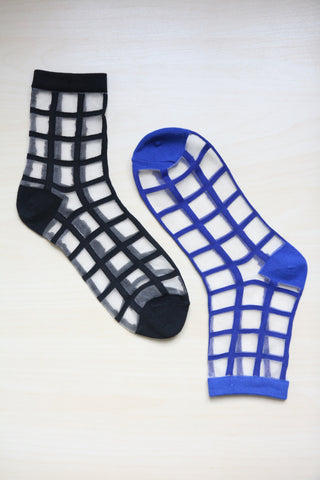 Sheer Grid Socks - Blue