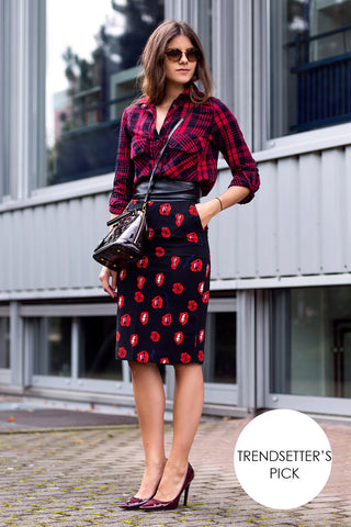Lips Print Pencil Skirt