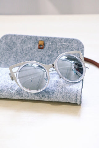 Cut-Out Metal Cat Eye Sunglasses - Silver