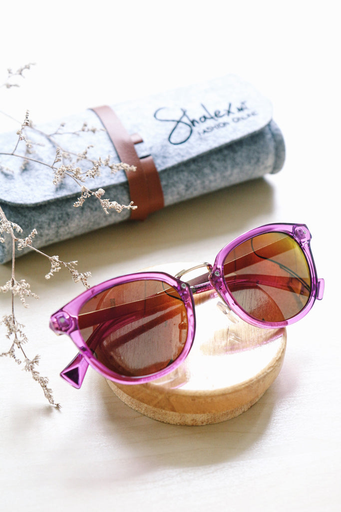 Round Mirror Sunglasses - Purple