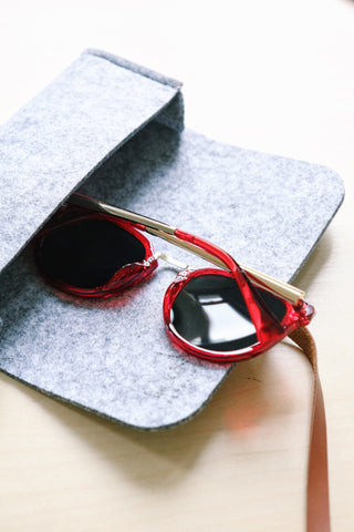 Round Mirror Sunglasses - Red