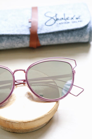 Metal Cat Eye Sunglasses with Cut-Out Detail - Pink