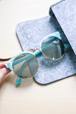 Half Frame Cat Eye Sunglasses - Blue