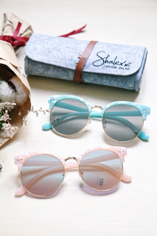 Half Frame Cat Eye Sunglasses - Pink