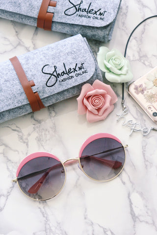 Eyebrow Round Sunglasses - Pink