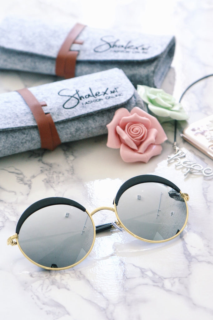 Eyebrow Round Sunglasses - Black with Mirrored Lenses