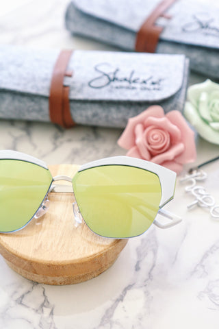Metal Half Frame Sunglasses - White