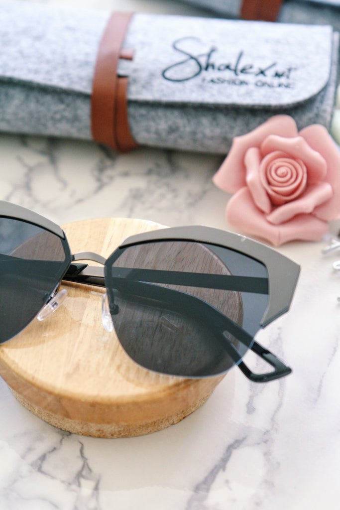 Metal Half Frame Sunglasses - Black