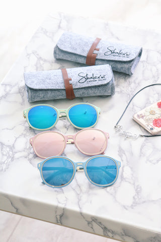 Pastel Blue Sunglasses with Mirror Lens