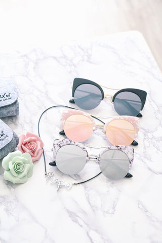 Shalex Cat Eye Sunglasses with Brow Bar - Marble