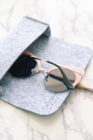 Shalex Cat Eye Sunglasses with Brow Bar - Pink Marble