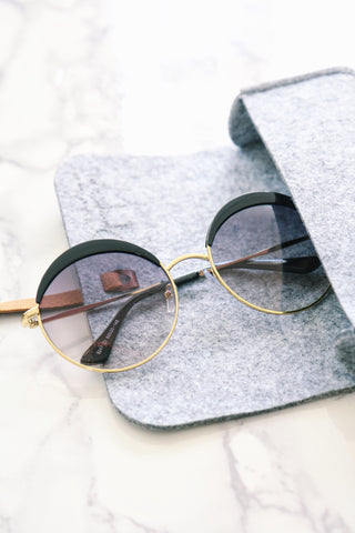 Eyebrow Round Sunglasses - Black