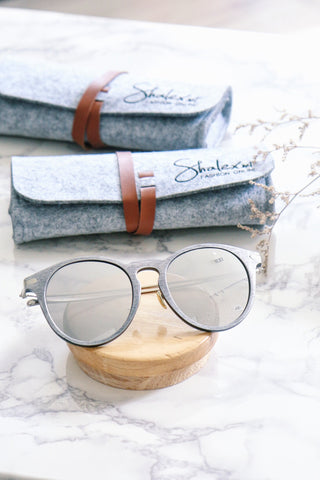Silver Wood-Look Sunglasses