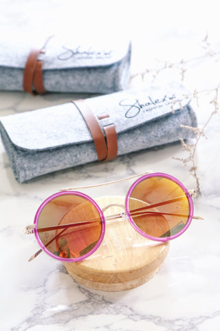 Retro Round Sunglasses with Metal Brow Bar - Pink