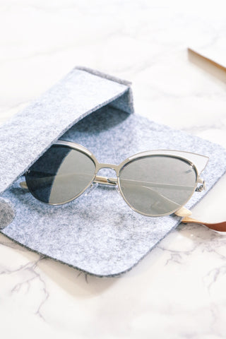 Metal Cat-Eye Sunglasses - White