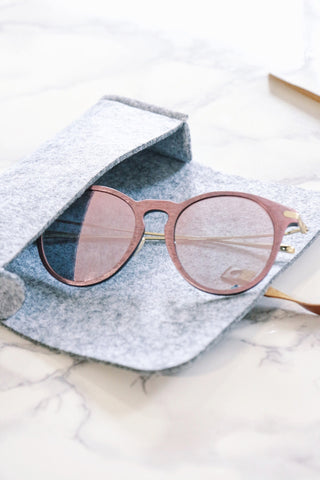 Pink Wood-Look Sunglasses