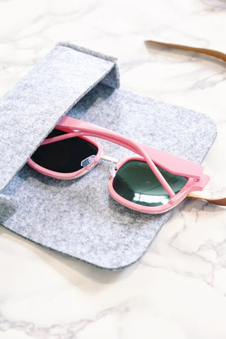 Pink Mirrored Square Sunglasses