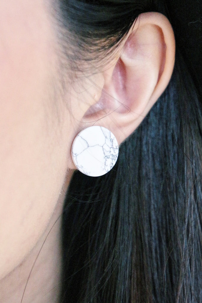 Marble Round Earrings