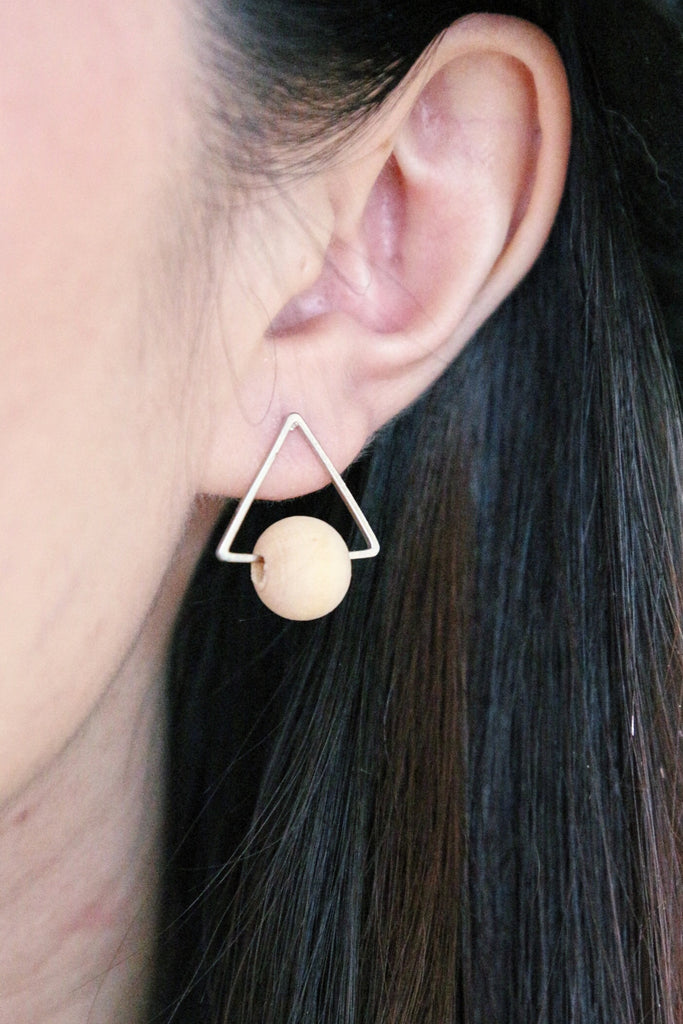 Triangle Wooden Earrings