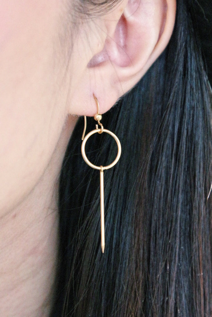 Hoop Drop Earrings - Gold