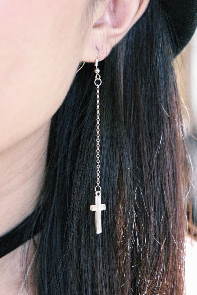 Cross Drop Earrings - Silver