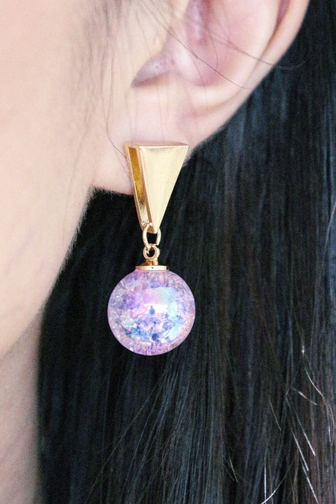 Triangle Ball Drop Earrings - Purple
