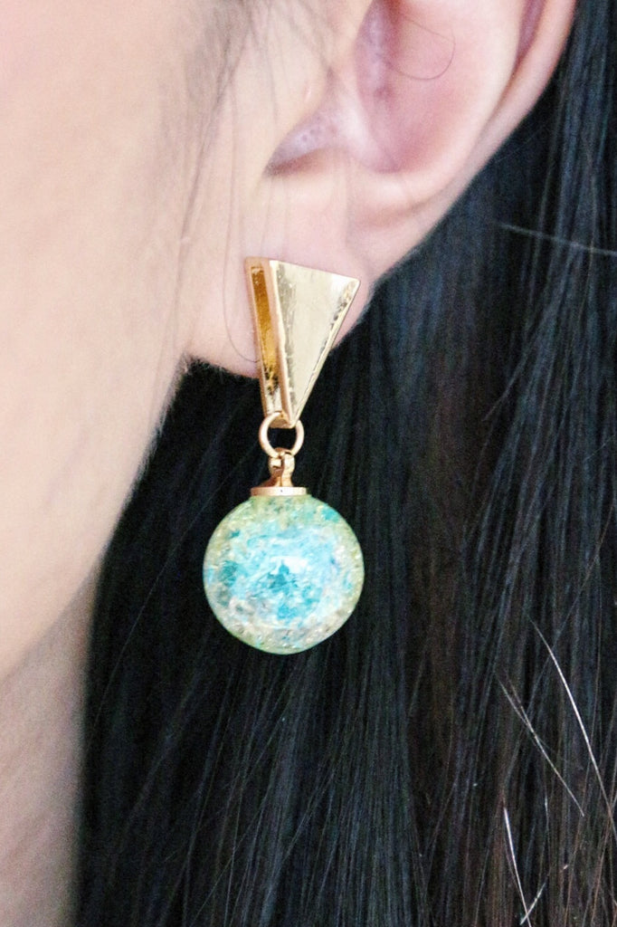 Triangle Ball Drop Earrings - Turquoise