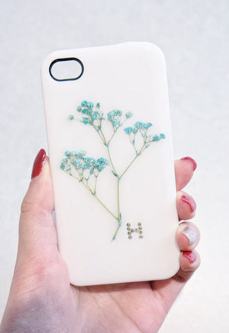 Handmade Real Pressed Flowers Phone Case with Custom Word