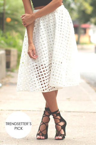 Polka Dot Cut-Out Midi Skirt