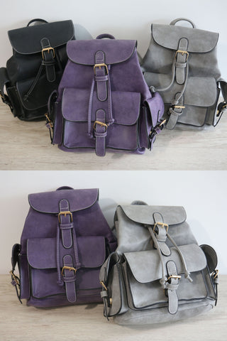 Black Structured Pockets Mini Backpack