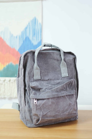 Shalex Corduroy Backpack - Grey