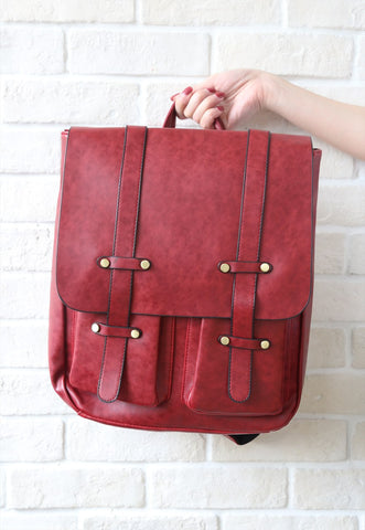 Leather-Look Studs Backpack - Red