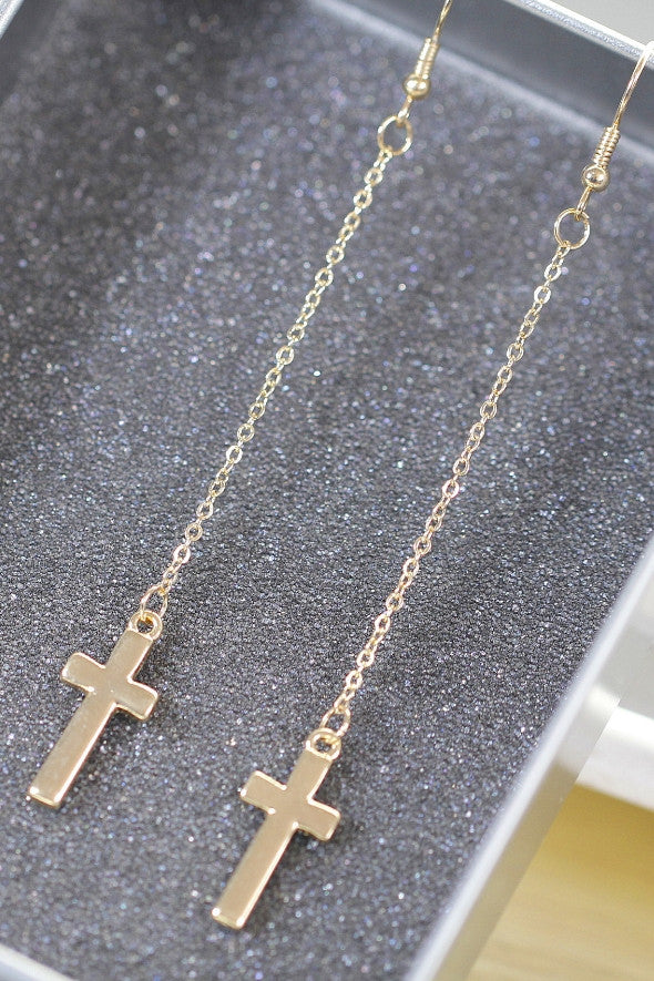 Cross Drop Earrings - Gold